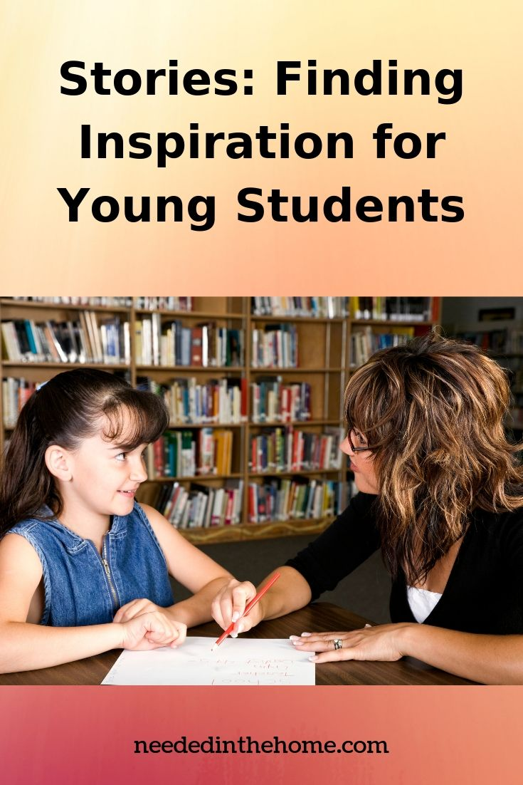 Stories: Finding Inspiration for Young Students mother and daughter working on a homeschool writing project at a library table neededinthehome