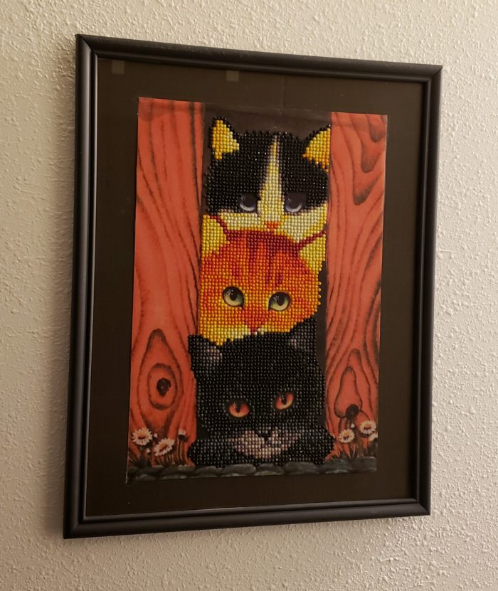 Diamond painting tutorial completed finished framed art kittens cats nursery decor NeededInTheHome