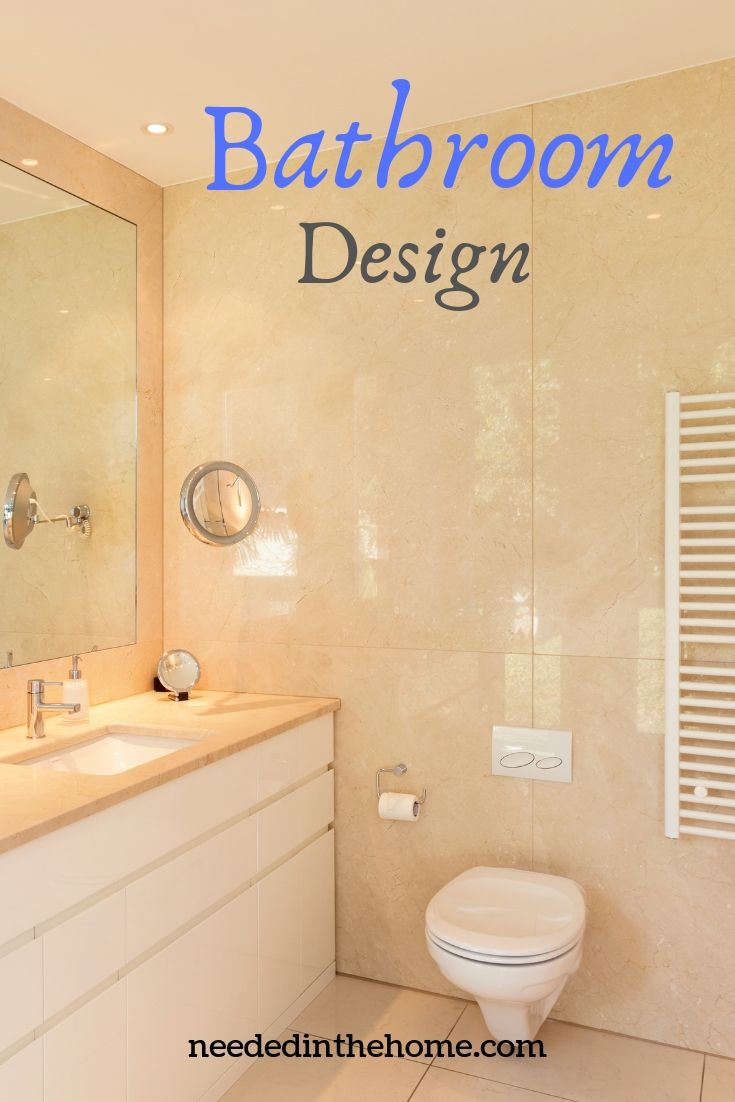 Bathroom design vanity with drawers storage large mirror wall tiles modern toilet heated towel rack neededinthehome