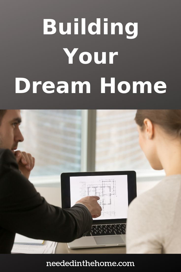 Building your dream home man woman looking at floor plans to build a house on laptop neededinthehome