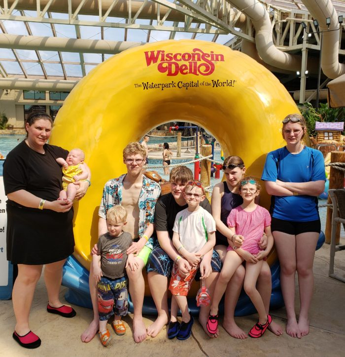 Large Family Vacation A family of 10 at an indoor waterpark in Wisconsin Dells the Waterpark Capital of the World!