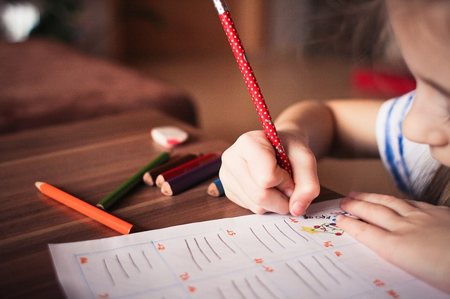 Homeschool curriculum fresh colored pencils pencil child writing right handed table
