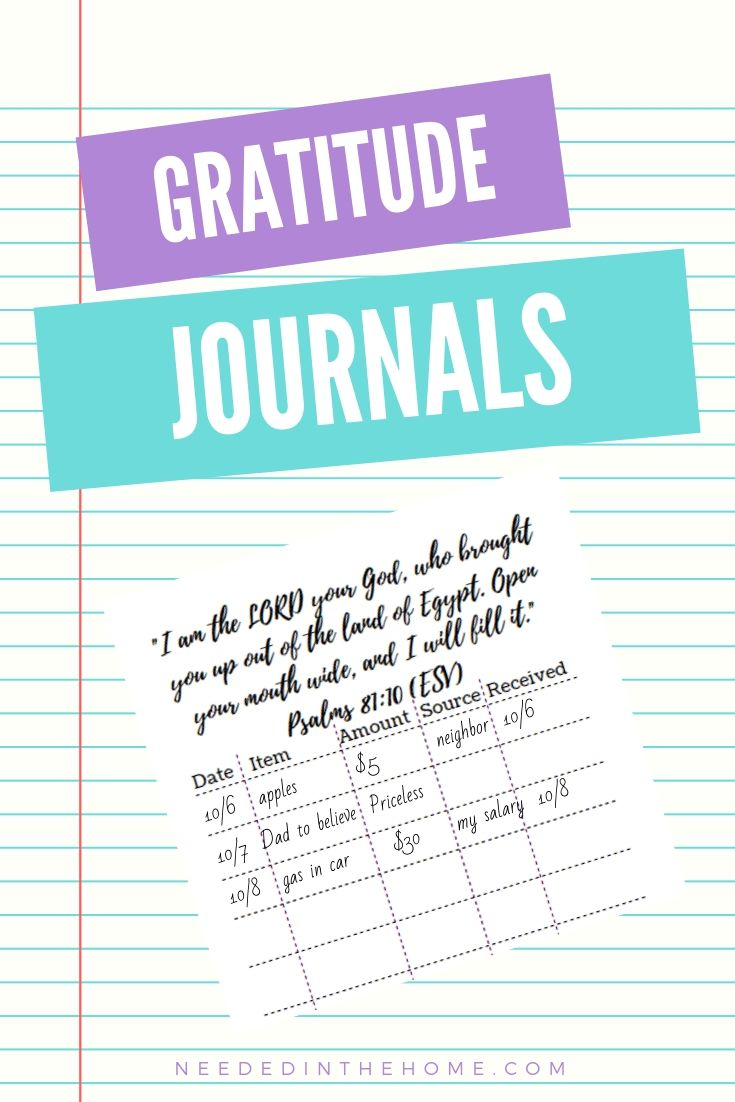 Gratitude Journals Psalms 81:10 excerpt from journal page with entries neededinthehome