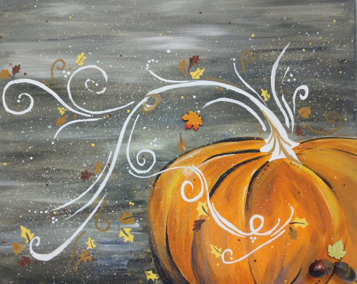 Pumpkin Frost home decor pumpkin swirl canvas painting by Anne Axelsen
