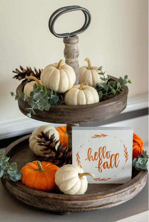 Pumpkin Frost Fall Home Decor wooden two tiered caddy mini white orange pumpkins hello fall sign pine cones