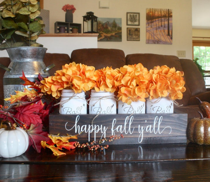 Pumpkin Frost home decor happy fall y'all wooden caddy with white mason jars orange hydrangea flowers living room decor