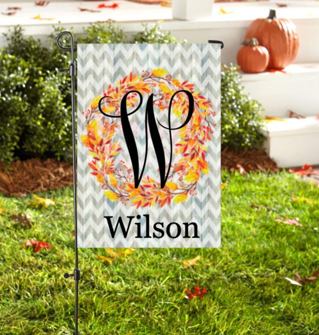 Pumpkin Frost home decor yard sign wreath of fall leaves initial W Wilson in grass
