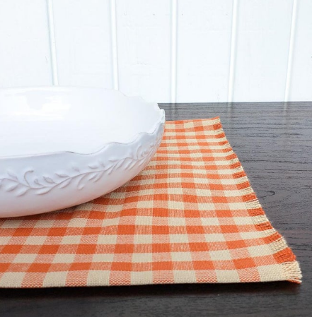 Pumpkin Frost home decor orange gingham placemat white ceramic decorative bowl table decor fall