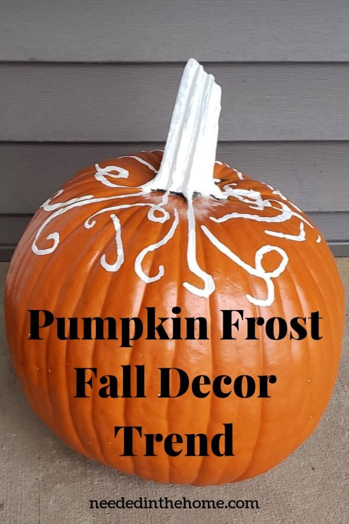 Pumpkin Frost Fall Decor Trend pumpkin with white stem and frost squiggles neededinthehome