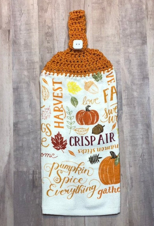 Pumpkin Frost home decor crochet top hanging kitchen towel with fall wording