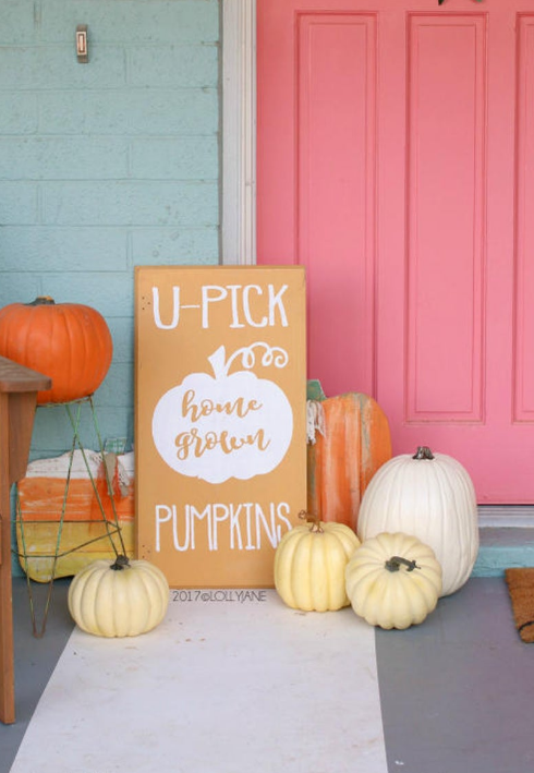 Pumpkin Frost home decor white cream orange pumpkins wood sign u-pick home grown pumpkins