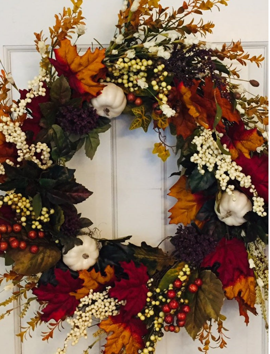 Pumpkin Frost home decor door wreath leaves white pumpkins