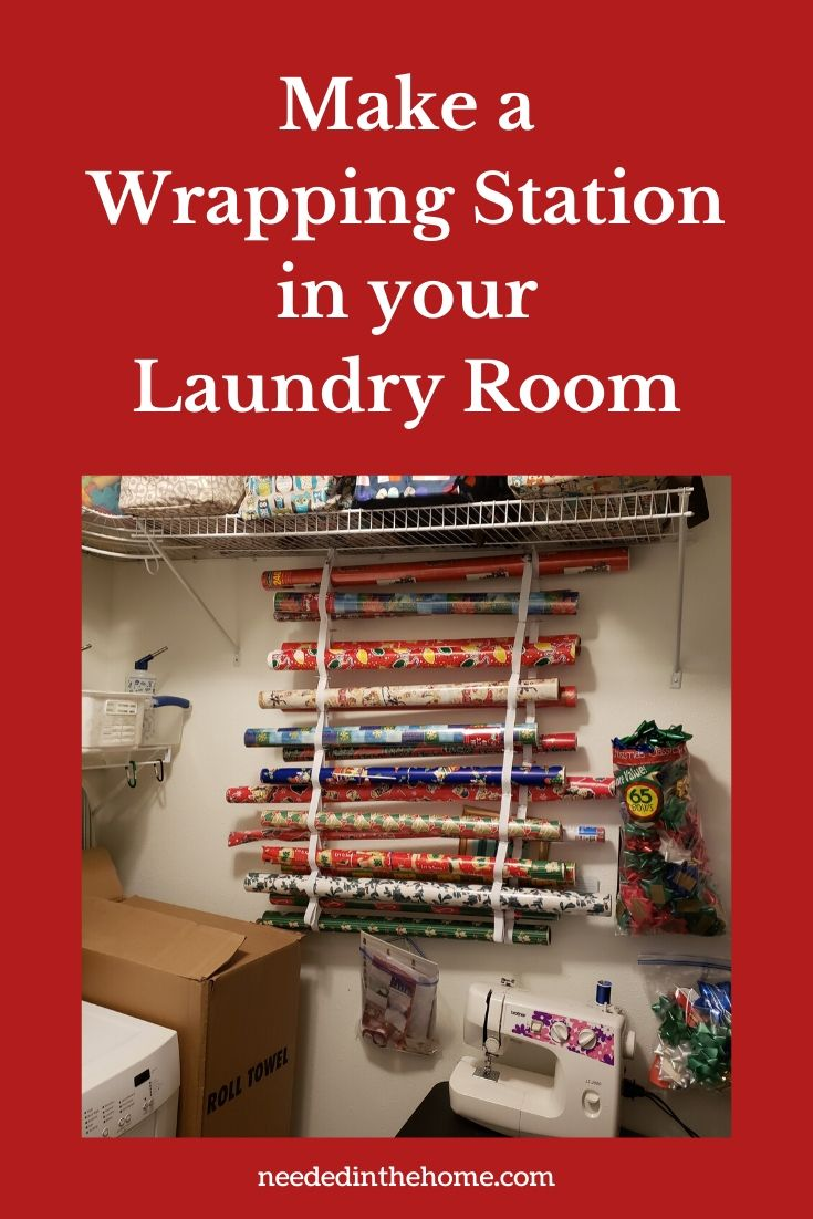 Make a wrapping station in your laundry room example of gift wrap holder made of elastic and safety pins neededinthehome