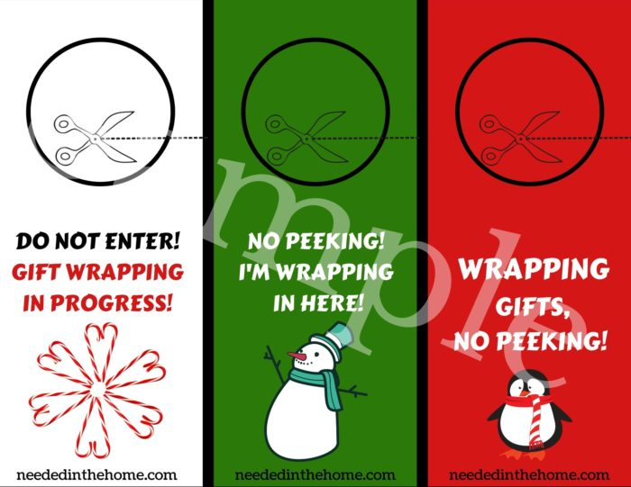 Gift wrapping Station door signs do not enter no peeking wrapping gifts neededinthehome