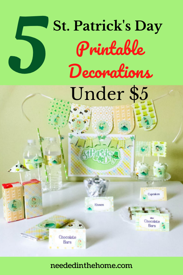 pinterest-pin-description 5 St. Patrick's Day Printable Decorations Under $5 banner straws labels name tags signs neededinthehome