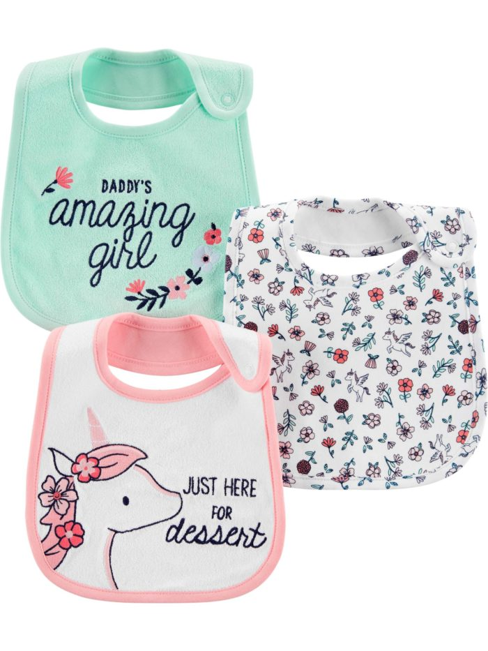 feeding bibs with snaps daddy's amazing girl flowers just here for dessert unicorn pink green white