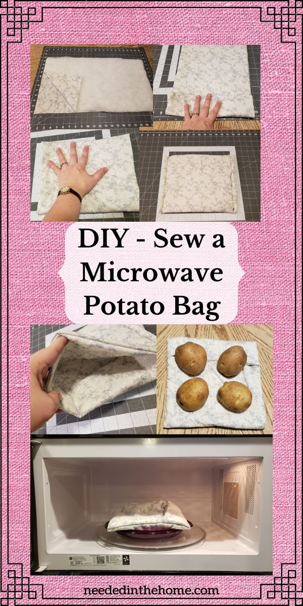 DIY sew a microwave potato bag fabric folding sewn sides open vent potatoes plate microwave neededinthehome