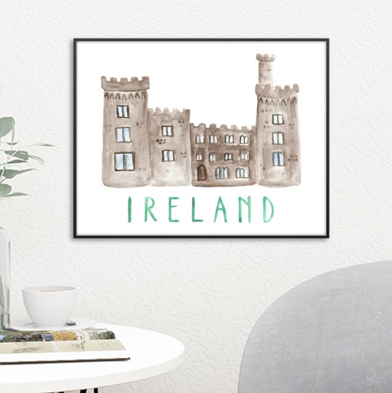 Ireland castle watercolor St. Patrick's Day Printable Decorations under 5