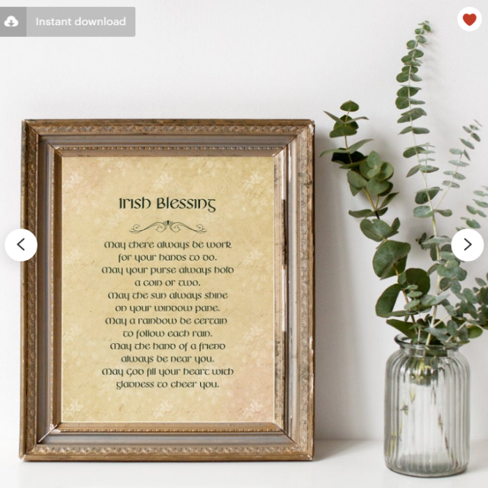 Irish blessing printable down load sign in frame next to greenery in vase