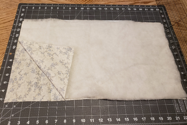fabric ready to sew a microwave potato bag on cutting mat