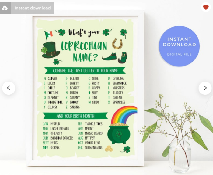 What's your leprechaun name game download printable sign plant