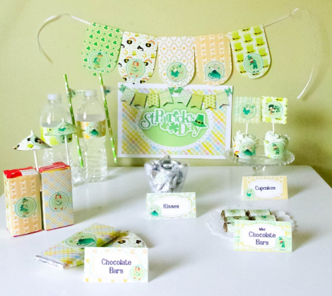 St. Patrick's day decor printables chocolate bars cupcakes kisses banner sign water bottles