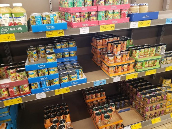 shelves with purchase limits at an aldi store stock up for three weeks plan