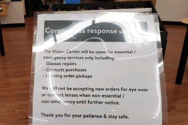 Stock Up for 3 weeks plan image at vision center sign regarding coronavirus