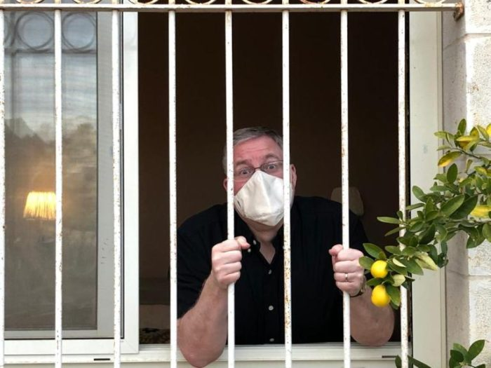 Joel C. Rosenberg, author of The Jerusalem Assassin, on quarantine in his apartment during coronavirus outbreak in 2020