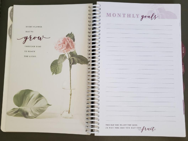 monthly goals interior pages in homemaker's friend daily planner by sue hooley