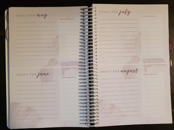 homemaker's friend daily planner 2021 goals for may june july august interior view