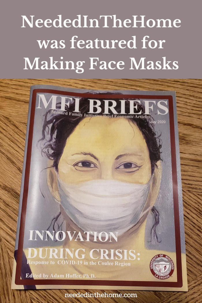 pinterest-pin-description neededinthehome was featured for making face masks magazine cover mfi briefs uwl