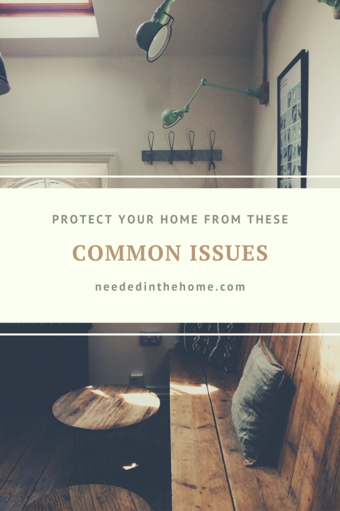 pinterest-pin-description protect our home from these common issues living room interior bench pillow coffee table lighting neededinthehome