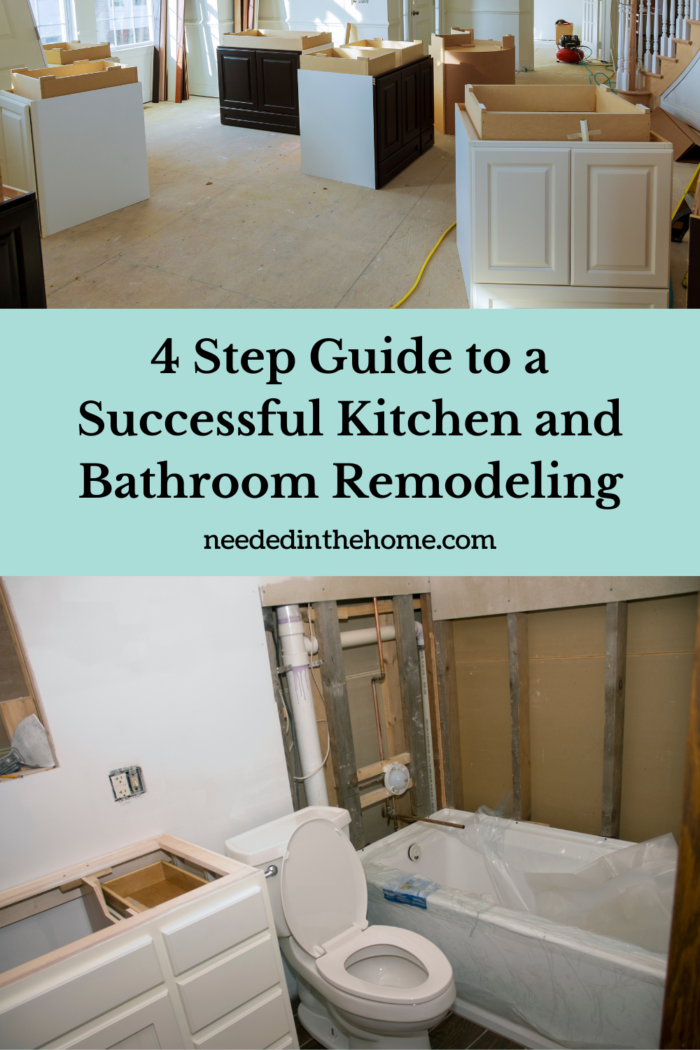 pinterest-pin-description 4 step guide to a successful kitchen and bathroom remodeling new kitchen cabinets, new bathroom tub vanity toilet neededinthehome