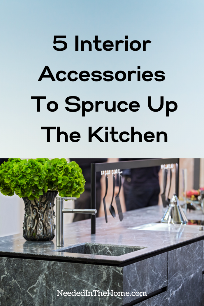 pinterest-pin-description 5 interior accessories to spruce up the kitchen marble counter fresh greenery hanging flatware utensils