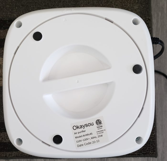 Product Review of Okaysou Air Purifier AirMic4S bottom of machine turned to unlock position
