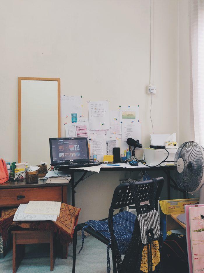 Overwhelm of Decluttering messy desk area in bedroom