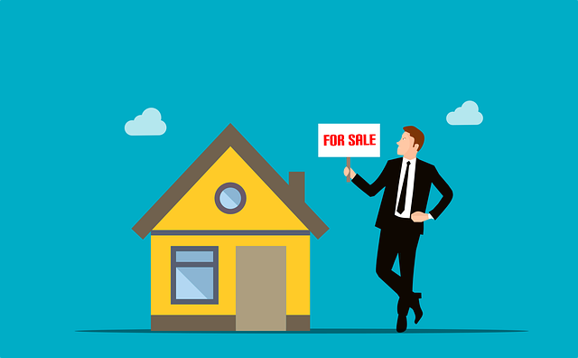 home sale quickly yellow house man in suit with for sale sign