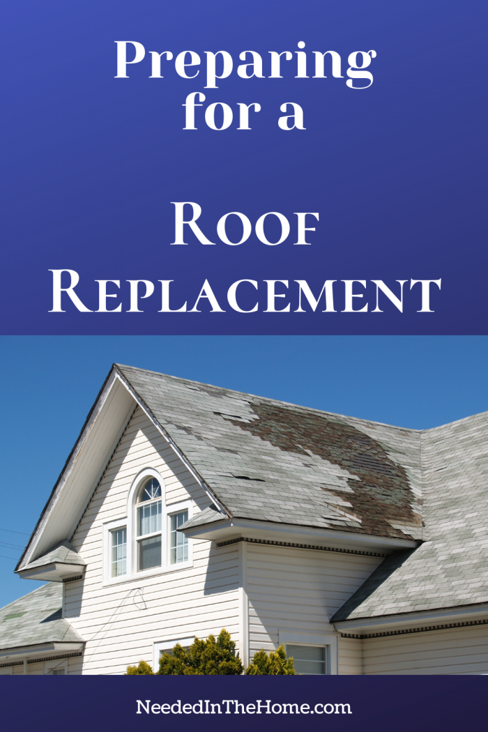 pinterest-pin-description preparing for a roof replacement white two story home damaged roof neededinthehome